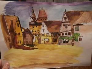 """Viktorija Latvaitytė X kl. - piešinys """"Senasis Ketvirtis"""". Darbas su akvarele."""